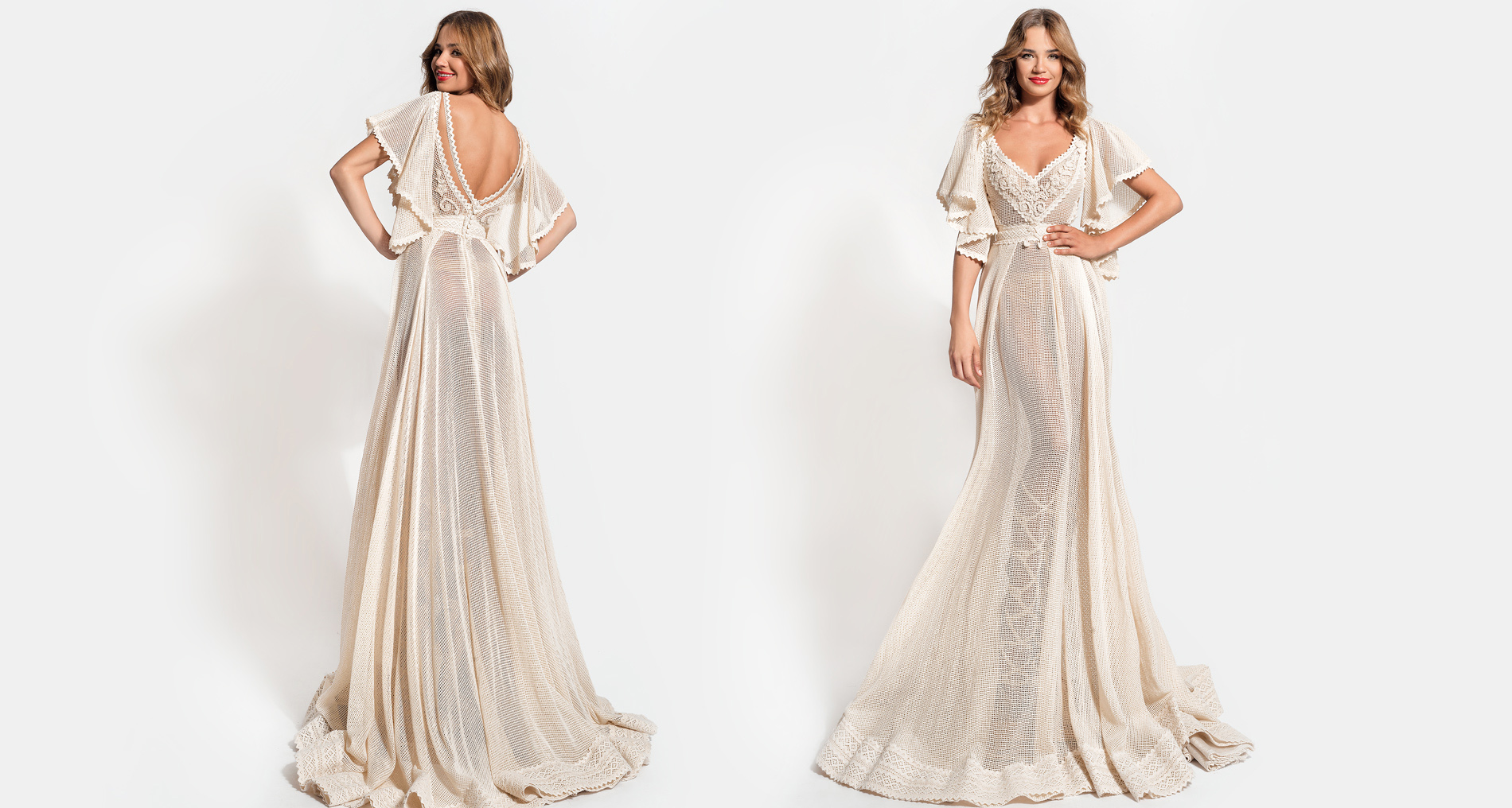Amalthea Sleeves wedding dress from  Hellenic Vintage Essence Collection