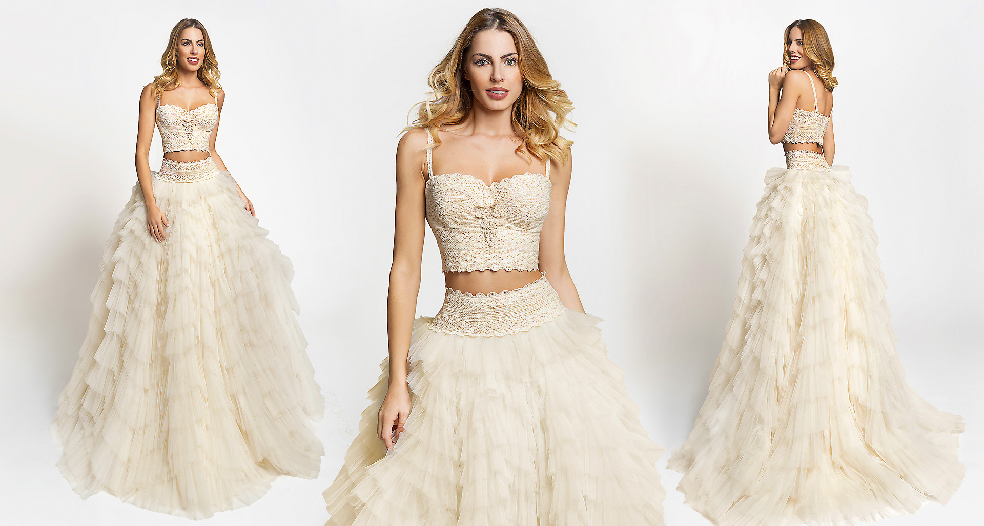 Athina wedding dress from  Hellenic Vintage Crop Top Collection