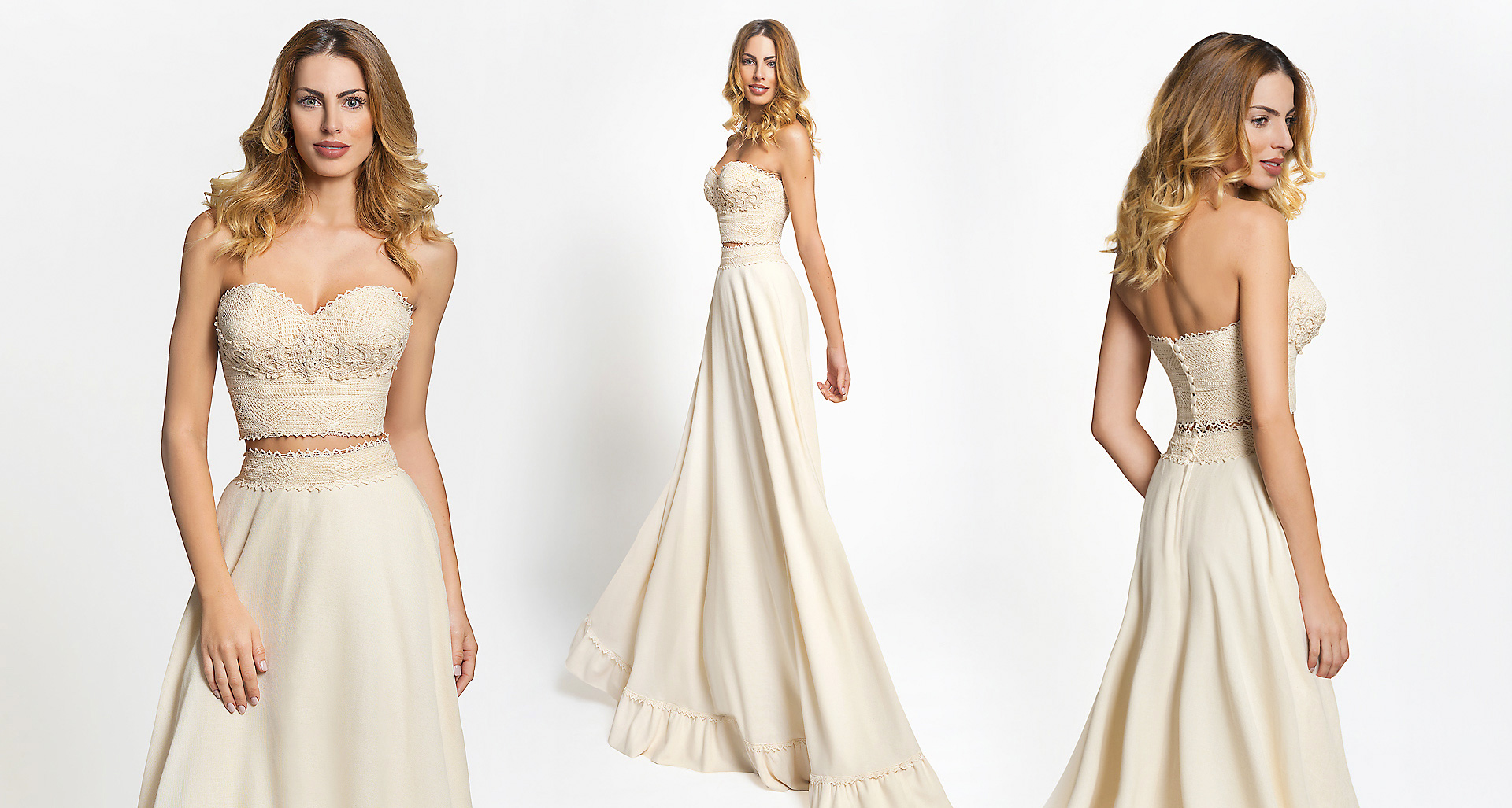 Doris wedding dress from  Hellenic Vintage Crop Top Collection