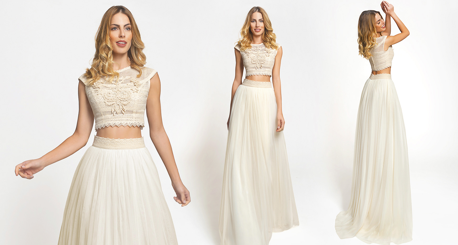 Hera wedding dress from  Hellenic Vintage Crop Top Collection