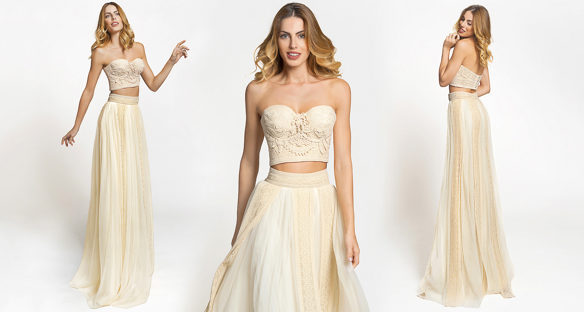 Loira wedding dress from  Hellenic Vintage Crop Top Collection