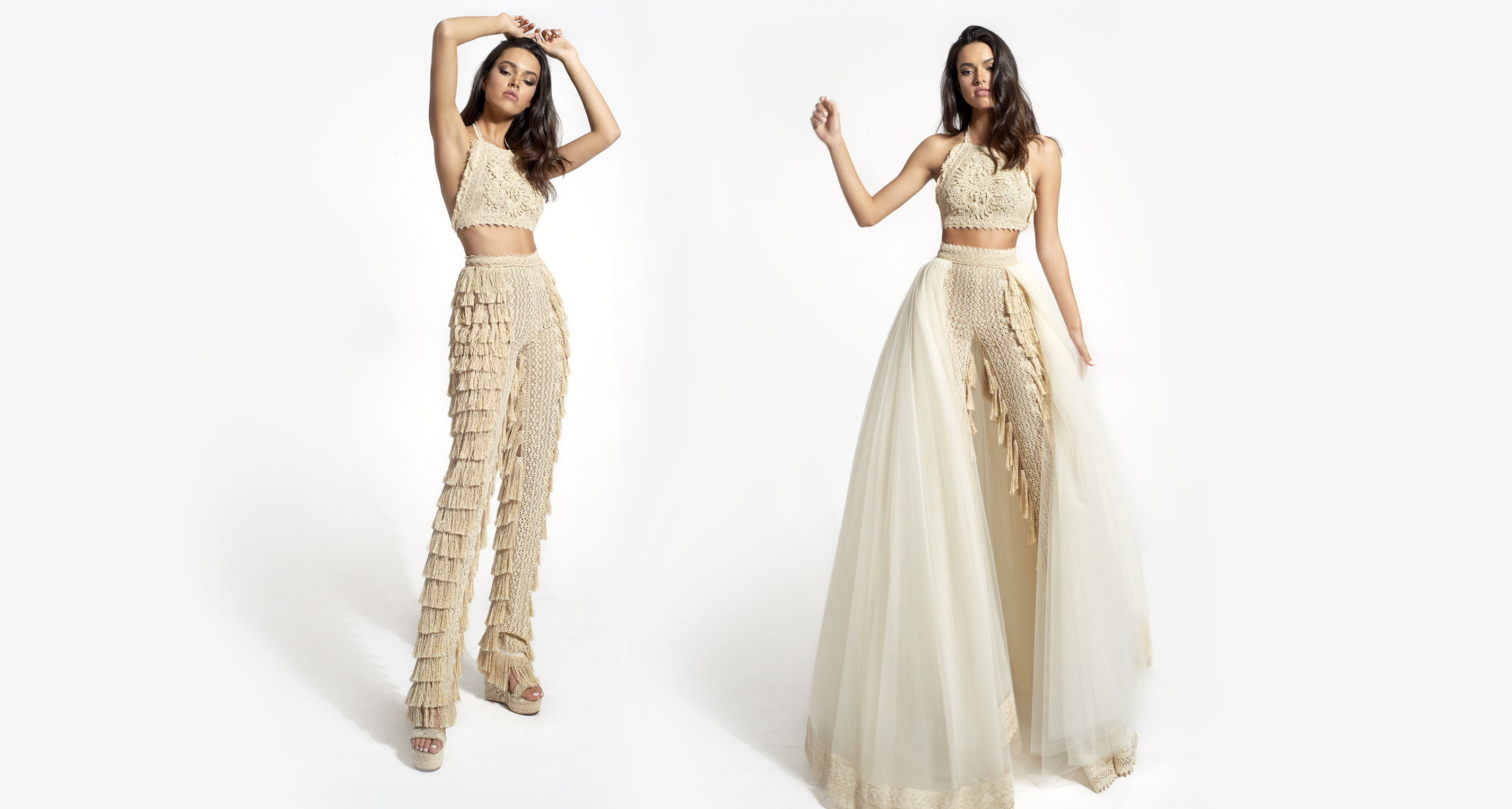 Ophelia Opulence & Fringe Pants wedding dress from  Hellenic Vintage Opulence Collection
